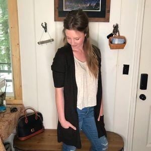 Eileen Fisher • brown short sleeve long cardigan